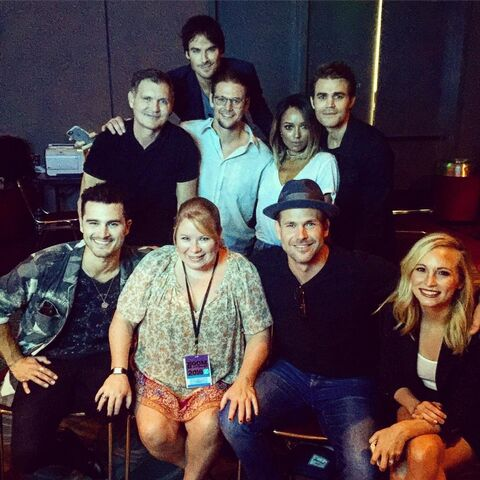 File:2016-07-23 Michael Malarkey Kevin Williamson Ian Somerhalder Zach Roerig Kat Graham Matt Davus Paul Wesley Candice Kng Julie Plec Instagram.jpg