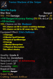 Tremor Warbow of the Sniper