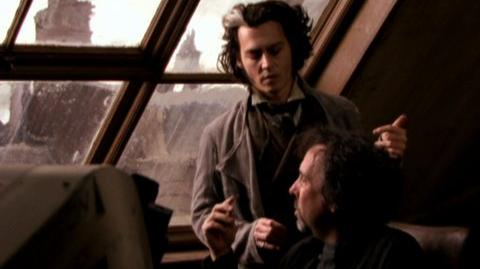 Sweeney Todd The Demon Barber Of Fleet Street (2007) - Behind the scenes Alan Rickman, Johnny Depp, and Tim Burton