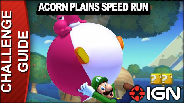 New Super Mario Bros. U Challenge Walkthrough - Acorn Plains Speed Run