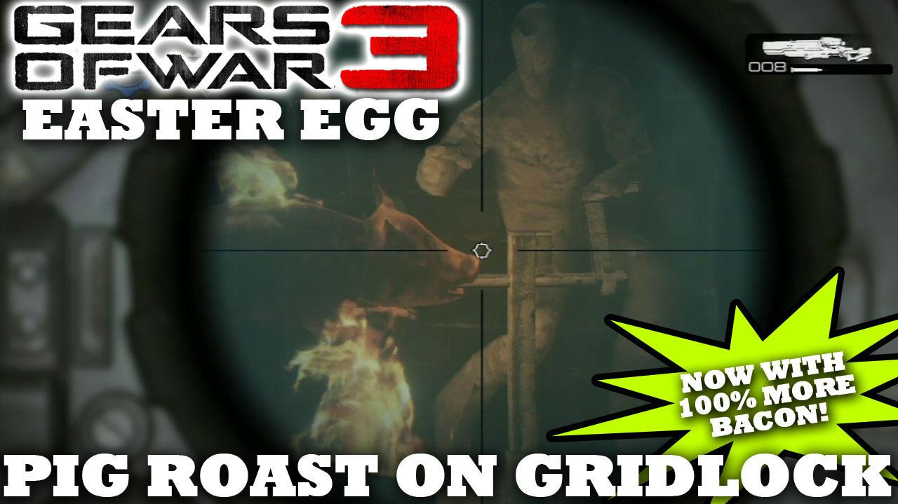 Gears of War 3 Pig Roast on Gridlock Easter Egg (BACON!)