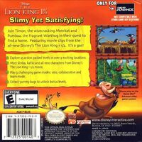 The Lion King GBA contraportada