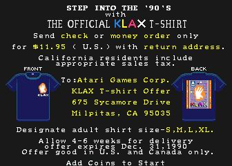 ¡Ordena tu remera Klax ahora! (Promoción válida hasta diciembre de 1990)