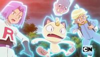 James, Clemont, Inkay and Meowth in Trouble