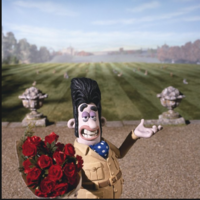 Victor Quartermaine with Flowers for Totty