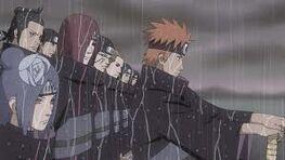 Yahiko, Konan, and Nagato forming the Akatsuki