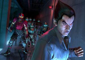 800px-Kazuya and Tekken Force - Artwork Image - Tekken 4