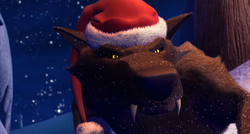 Black Wolf wearing Santa Hat