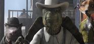Tortoise John ordering Rango to hand over his gun