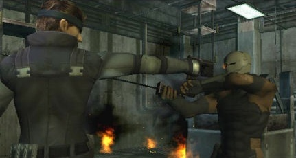 File:Gray Fox confronting Solid Snake.jpg