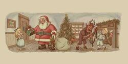 Krampus and Santa Claus