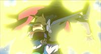 Ash and Pikachu facing the Iron-Masked Marauder