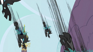 The changelings attacking Canterlot