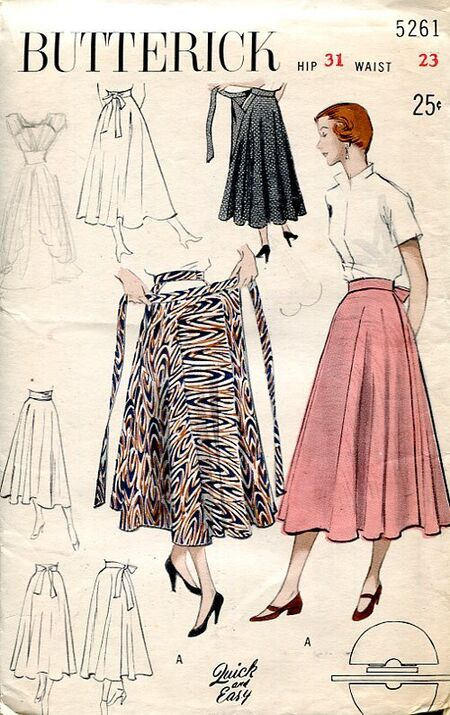 Butterick 5261 Vintage 1950s Wrap Skirt image