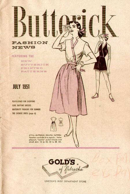 Butterick Fashion News July 1951