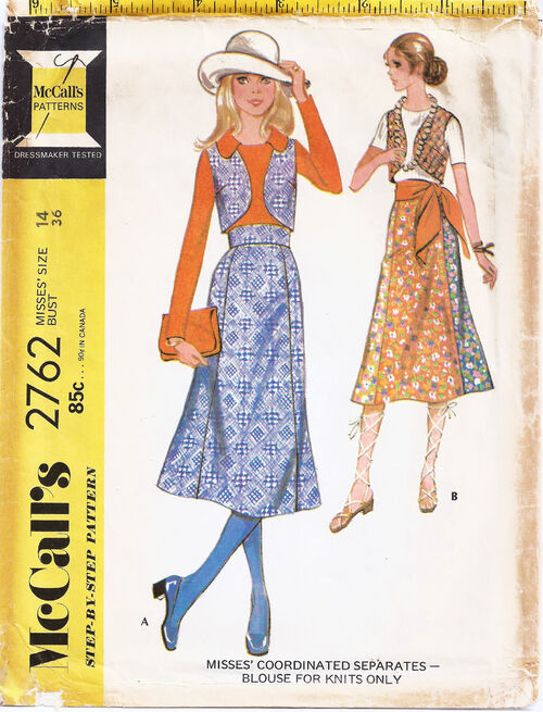 1971 High waist skirt, Vest, Knit top chop