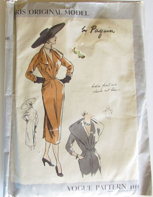 Vintage Paris Original model Vogue Dress Pattern 1101 1950's by Paquin 2