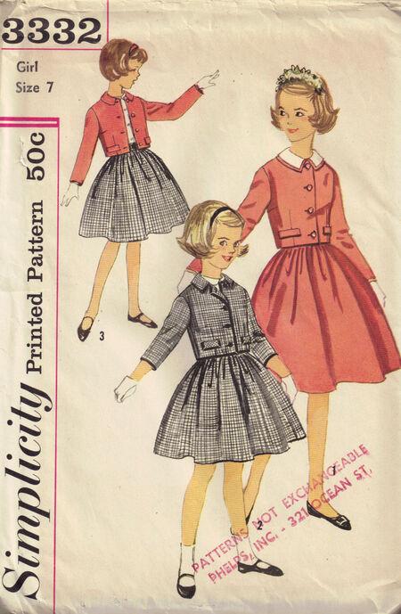Simplicity 3332 girls size 7