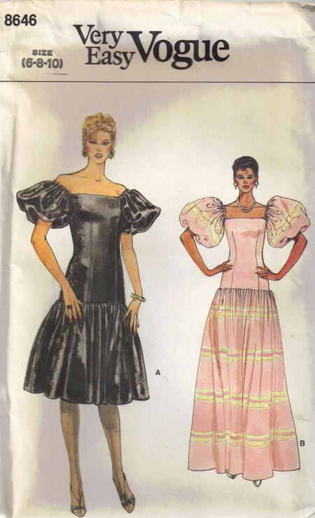 C1980s 8646 Vogue Very Easy Dress
