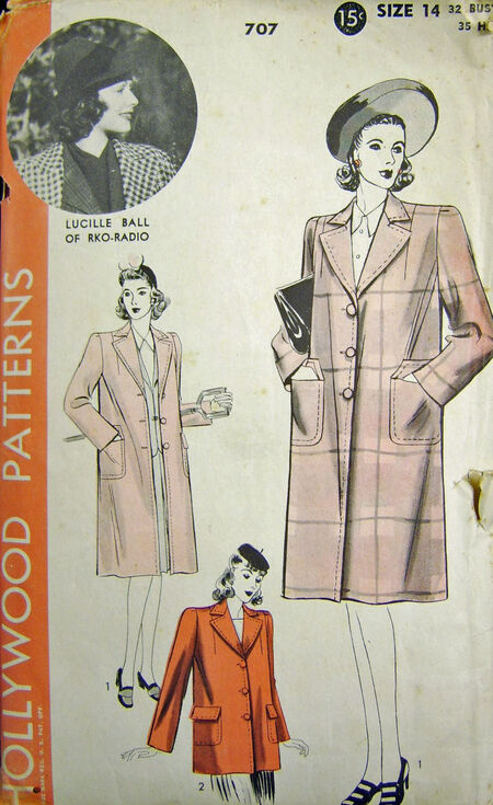Hollywood Patterns 707 Lucille Ball Sewing Pattern-1