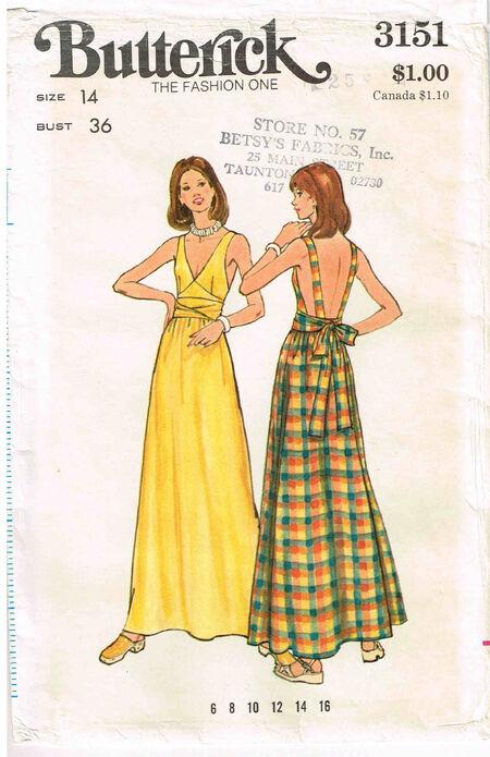 C1970s 3151 Butterick Dress
