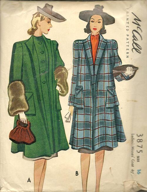1940 coat pattern - McCall 3875