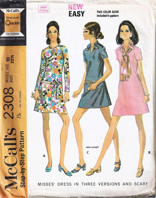 1970 French dart dress cropped