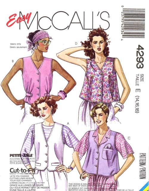 McCalls 1989 4293 F Size 14 - 18