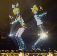 Rin and Len performing Suki Kiari at Magical Mirai