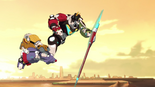 S2E04.264. Voltron lunging down with shield