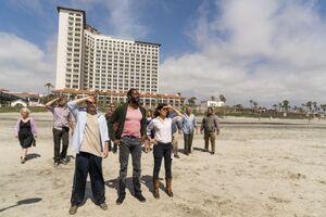 Hotel group on beach (Pablo & Jessica)