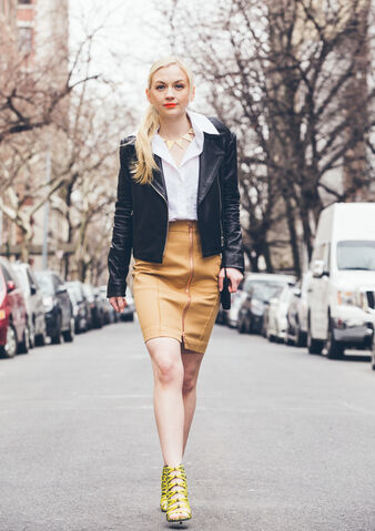 File:Emily walking like a boss in a black jacket and gold bottom.jpg