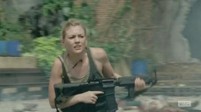 File:Beth running to Daryl while looking at the prison surrouding.JPG