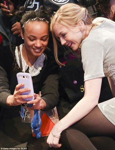 File:Emily Selfie with a lucky fan at the party.JPG