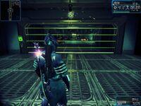 Une barrière de lasers activée.