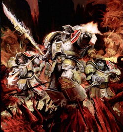 Grey Knights fighting daemons