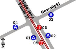 Schemat rozmieszczenia przystanków w zespole Nowolipki