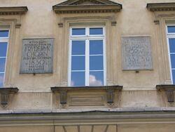 Pałac Czapskich Tablica ostatnie mieszkanie Fryderyka Chopina.JPG