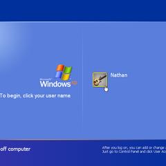 Windows XP log in screen.