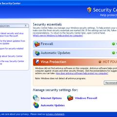 Windows Security Center program screen.