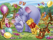 Pooh Wallpaper - Mama Heffalump & Lumpy, Pooh, Tigger, Piglet, Roo
