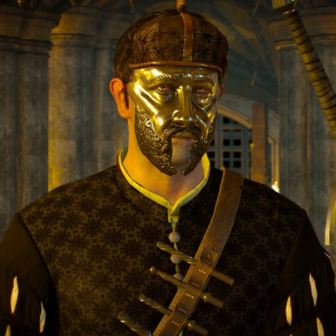 Quinto wearing mask depicting <a href=