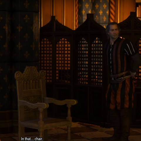 Explaining Geralt what is bergére (type of chair)