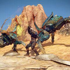 Geralt fighting sandcrabs