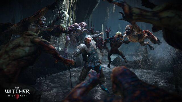 File:Tw3 e3 2014 screenshot - Witcher Vesemir fighting monsters.jpg