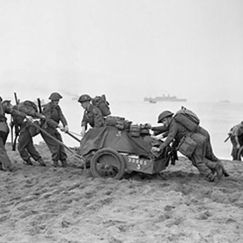 thumb|210px|British soldiers tow pull an artillery piece on a beach in Algeria.