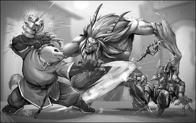 Datei:WoW RPG Pandaren vs Satyr by joe vriens.jpg