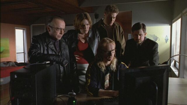 File:The Lone Gunmen and Carol Strode discover her brother was a blackmailer.jpg