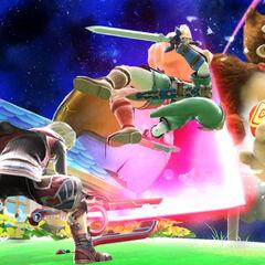 Shulk preforming Back Slash on Link and Donkey Kong.