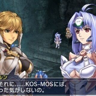 Fiora and KOS-MOS dialogue in <i>Project X Zone 2</i>
